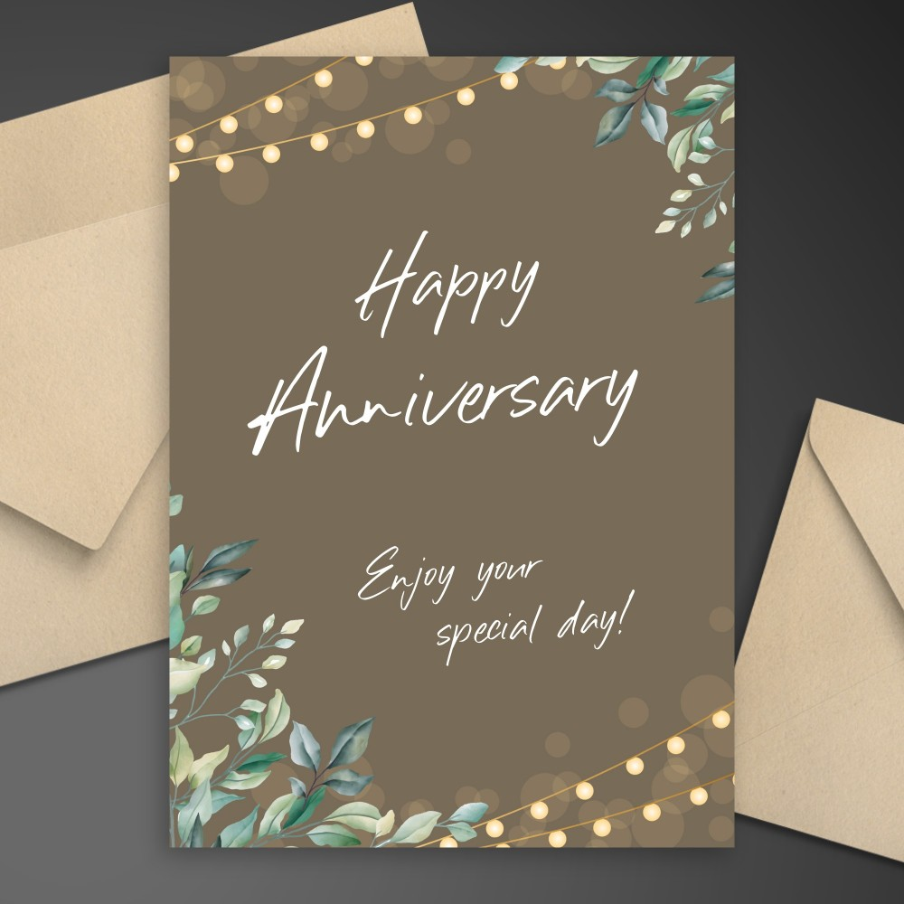 Customize and Download Greenery String Lights Anniversary Card