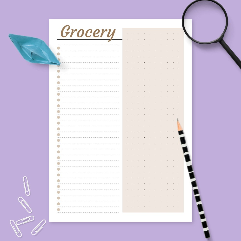 Download Printable Grocery List - Lined & Dotted Template