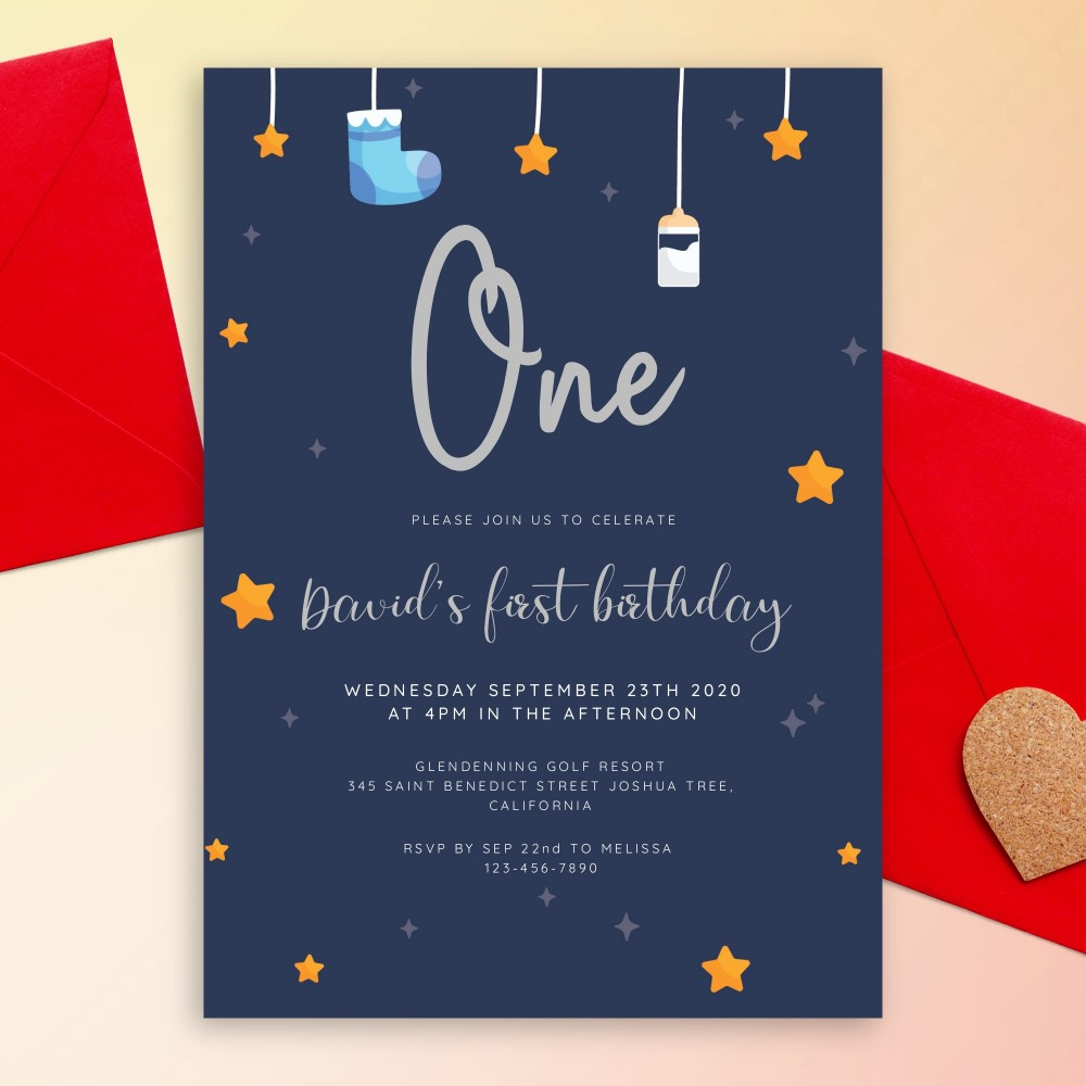 Customize and Download Hanging Stars Navy Blue Baby 1st Birthday Invitation