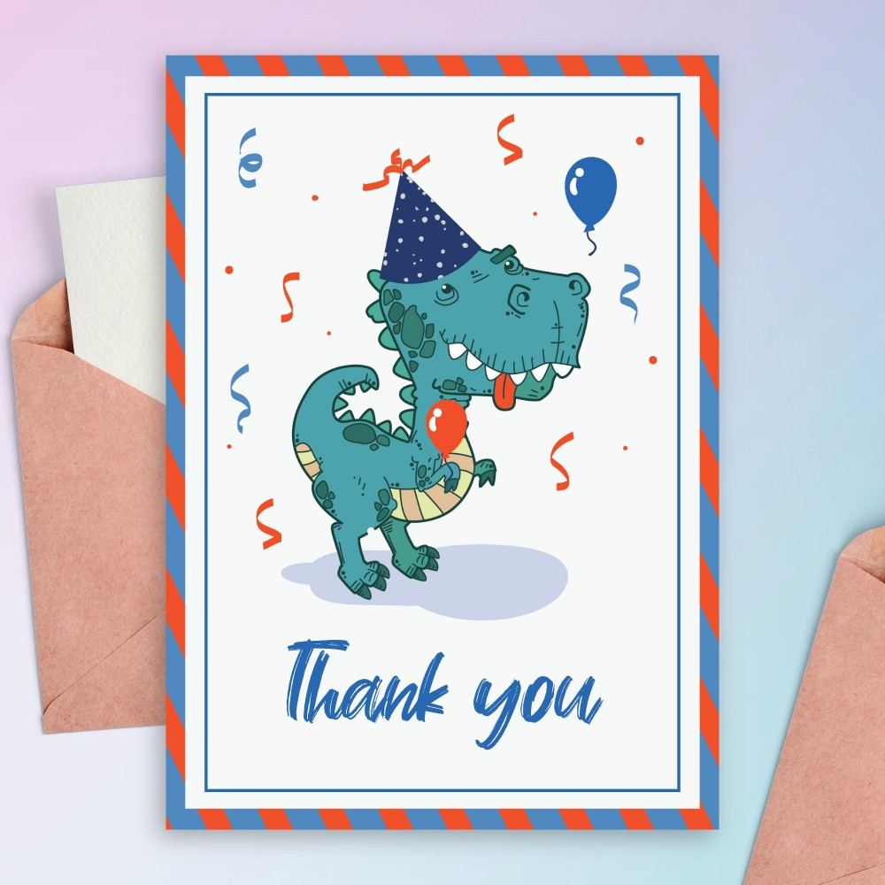 Customize and Download Happy Dino Birthday Thank You Card