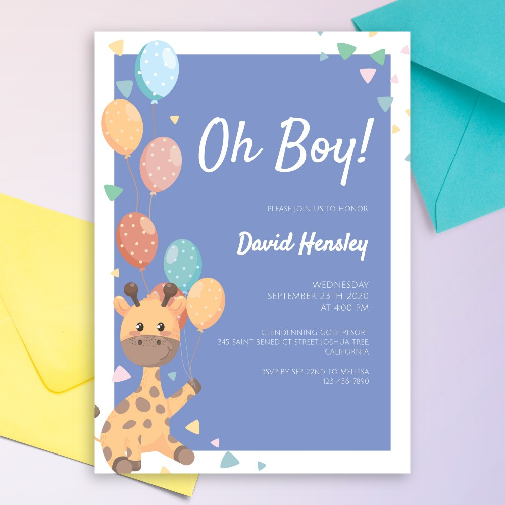 Customize and Download Happy Giraffe Baby Shower Invitation