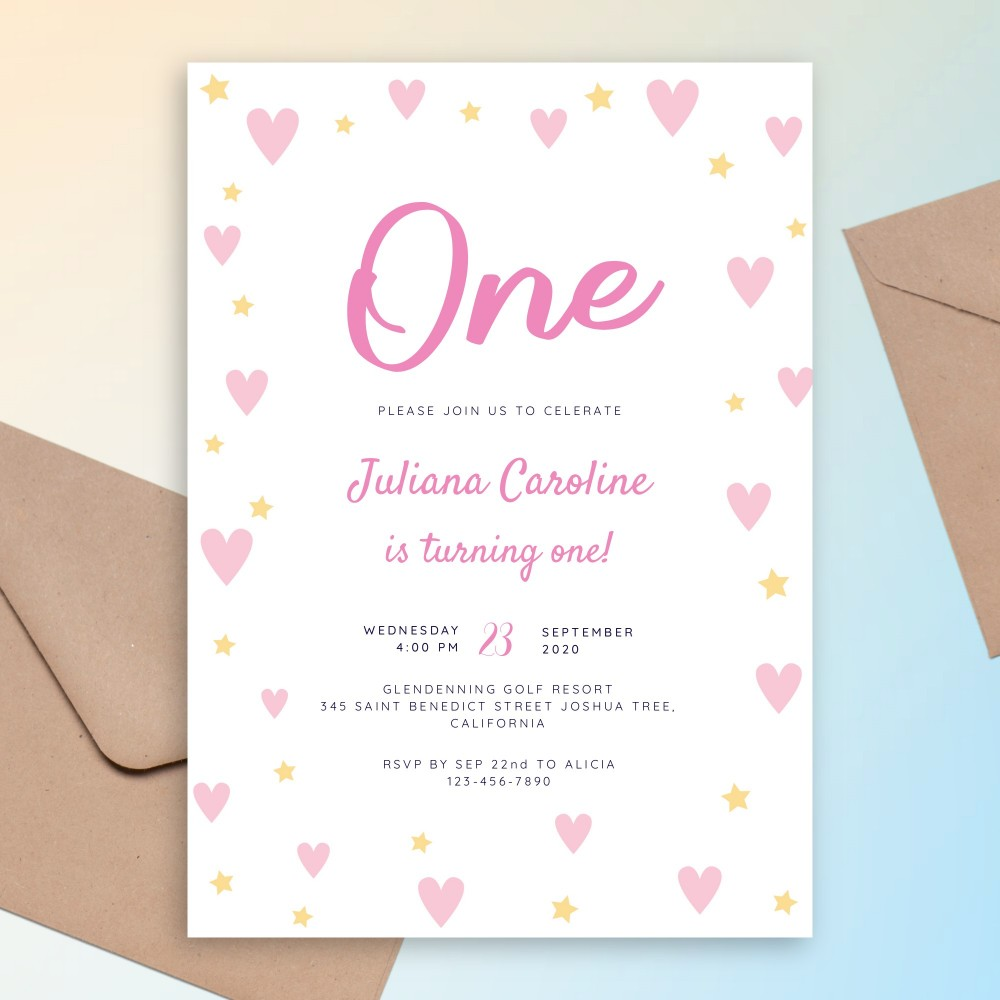 Customize and Download Hearts and Stars Pink Baby 1st Birthday Invitation