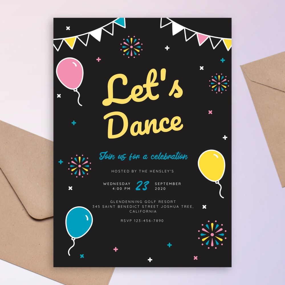 Customize and Download Let's Dance Colored Black Party Invitation