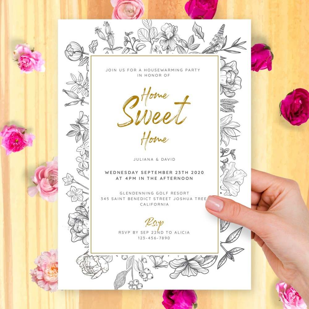 Customize and Download Lined Floral Housewarming Invitation
