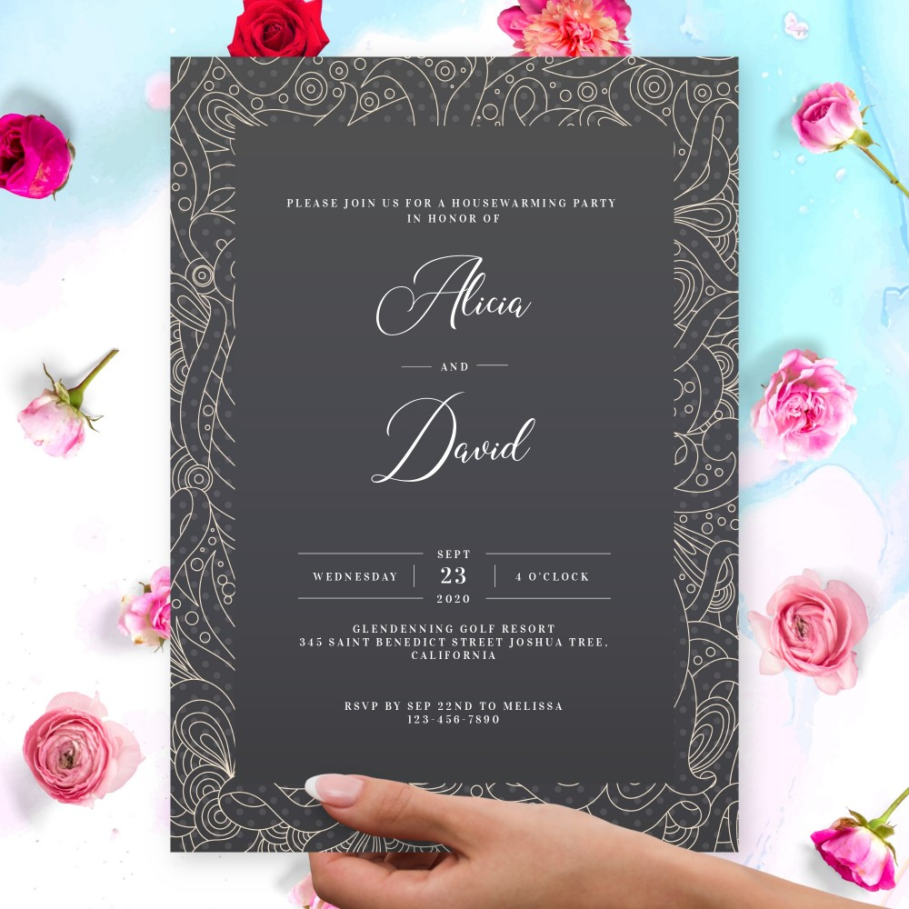 Customize and Download Lined Pattern Black Housewarming Invitation