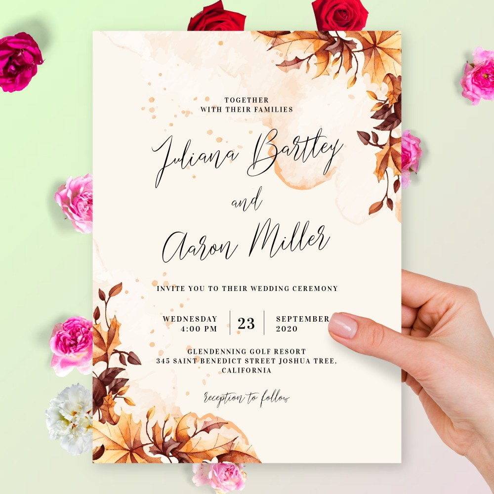 Customize and Download Maple Leaves Fall Wedding Invitation