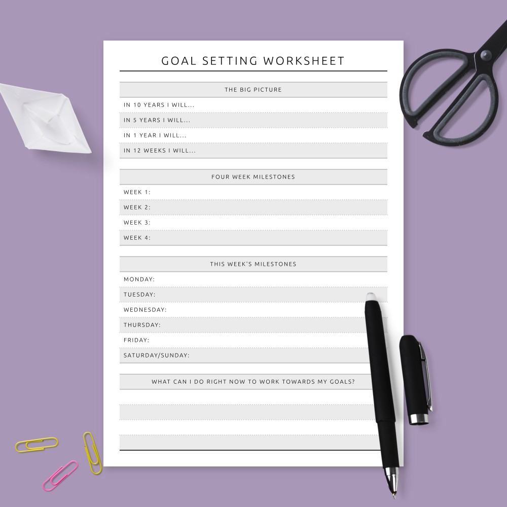 Download Printable Milestones Goal Setting Plan Template