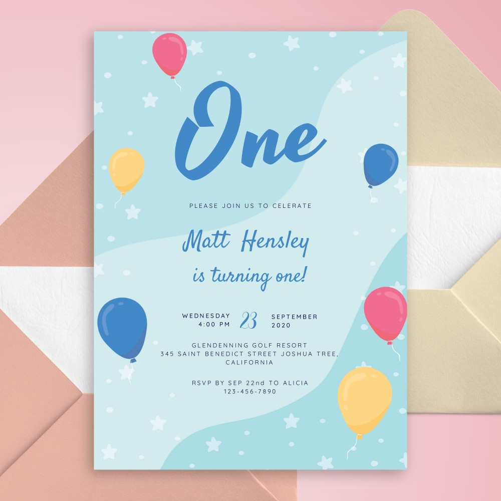 Customize and Download Milky Way Sky Balloons Baby 1st Birthday Invitation
