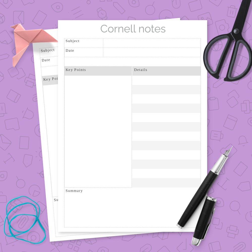 Download Printable Minimalist Cornell Notes Template Template