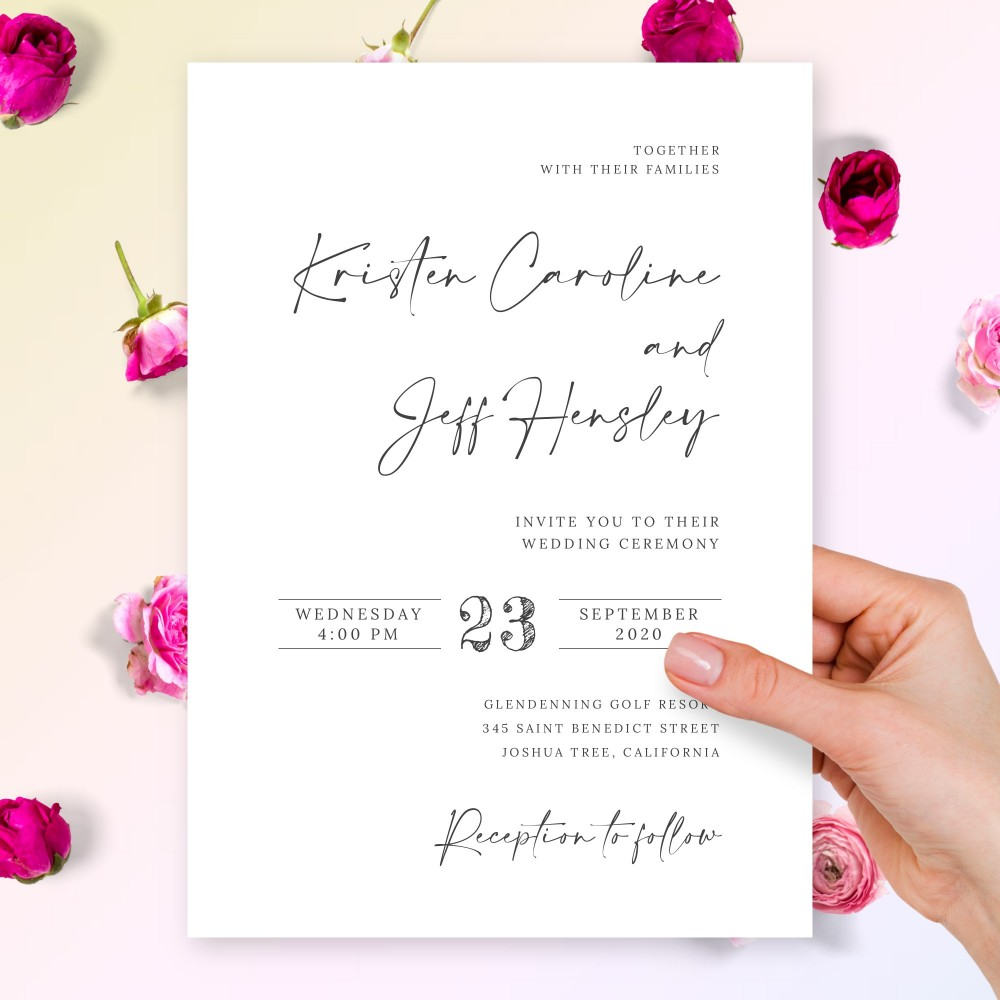 Customize and Download Minimalist Modern Calligraphy Elegant Wedding Invitation