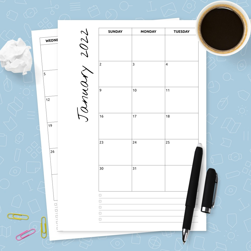 Download Printable Minimalist Monthly Calendar Template