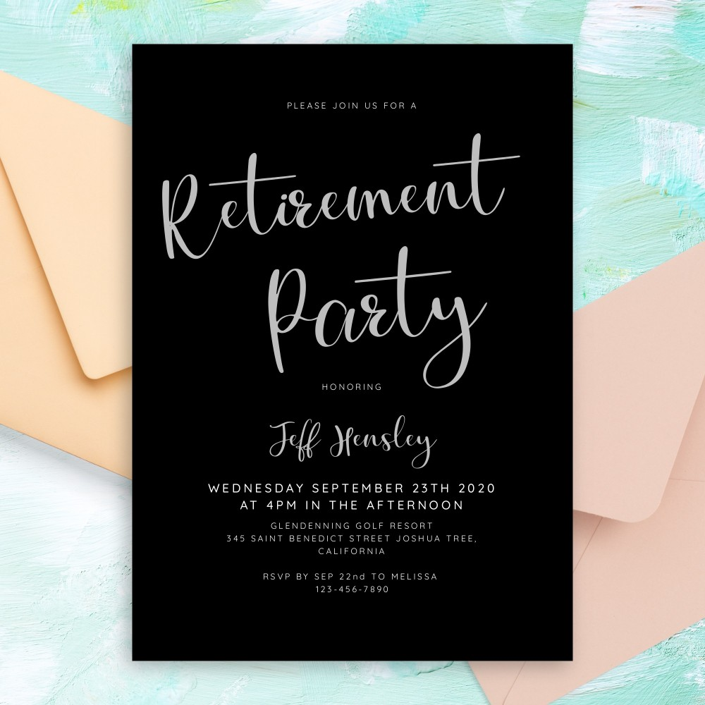 Customize and Download Modern Black and White Retirement Party Invitation
