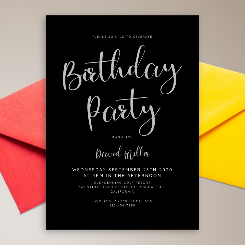 Customize and Download Modern Black Birthday Invitation