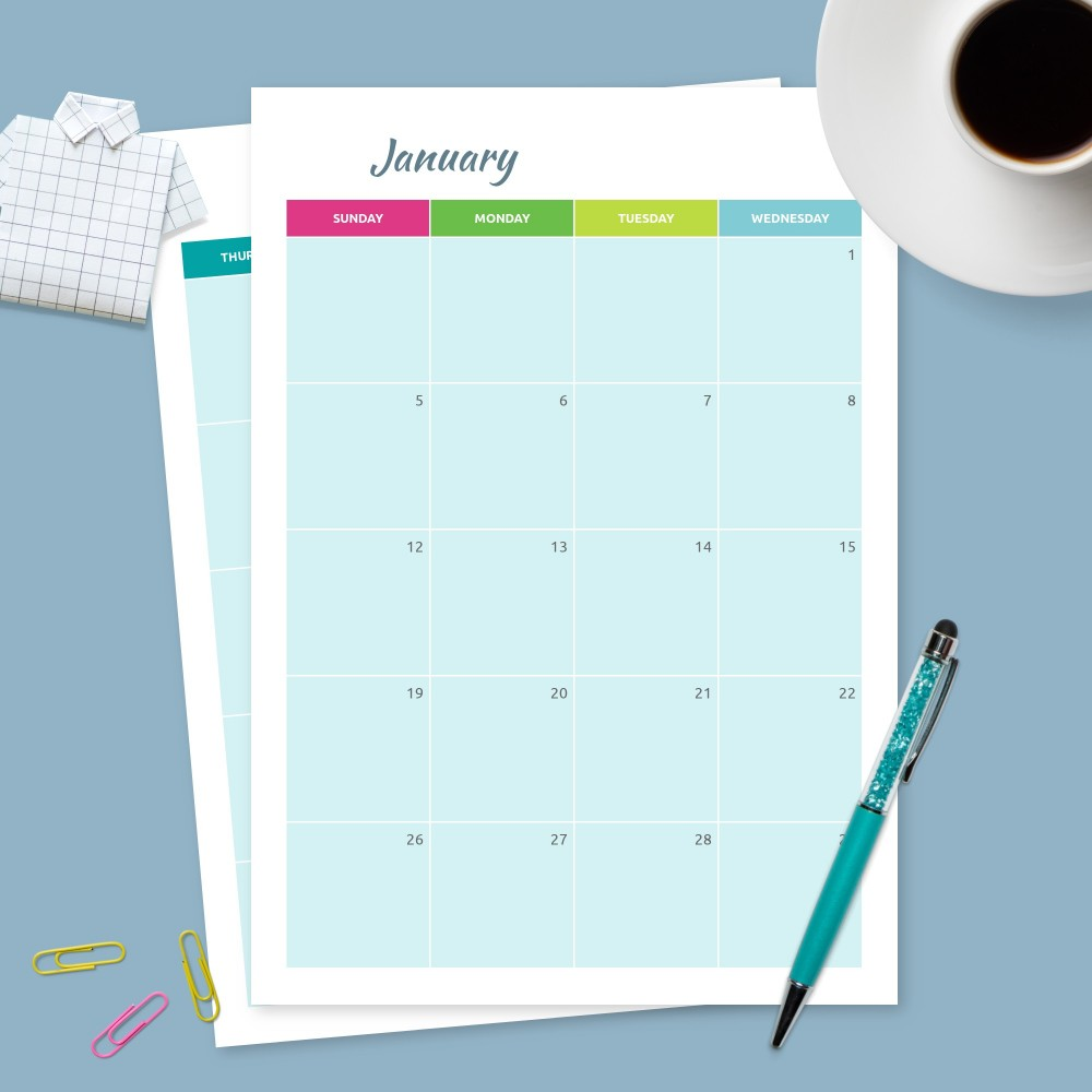 Download Printable Monthly Calendar Blue Background Template