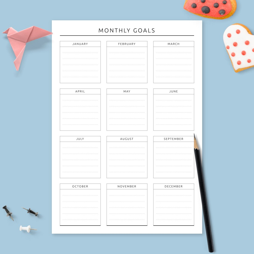 Download Printable Monthly Goals Calendar Template
