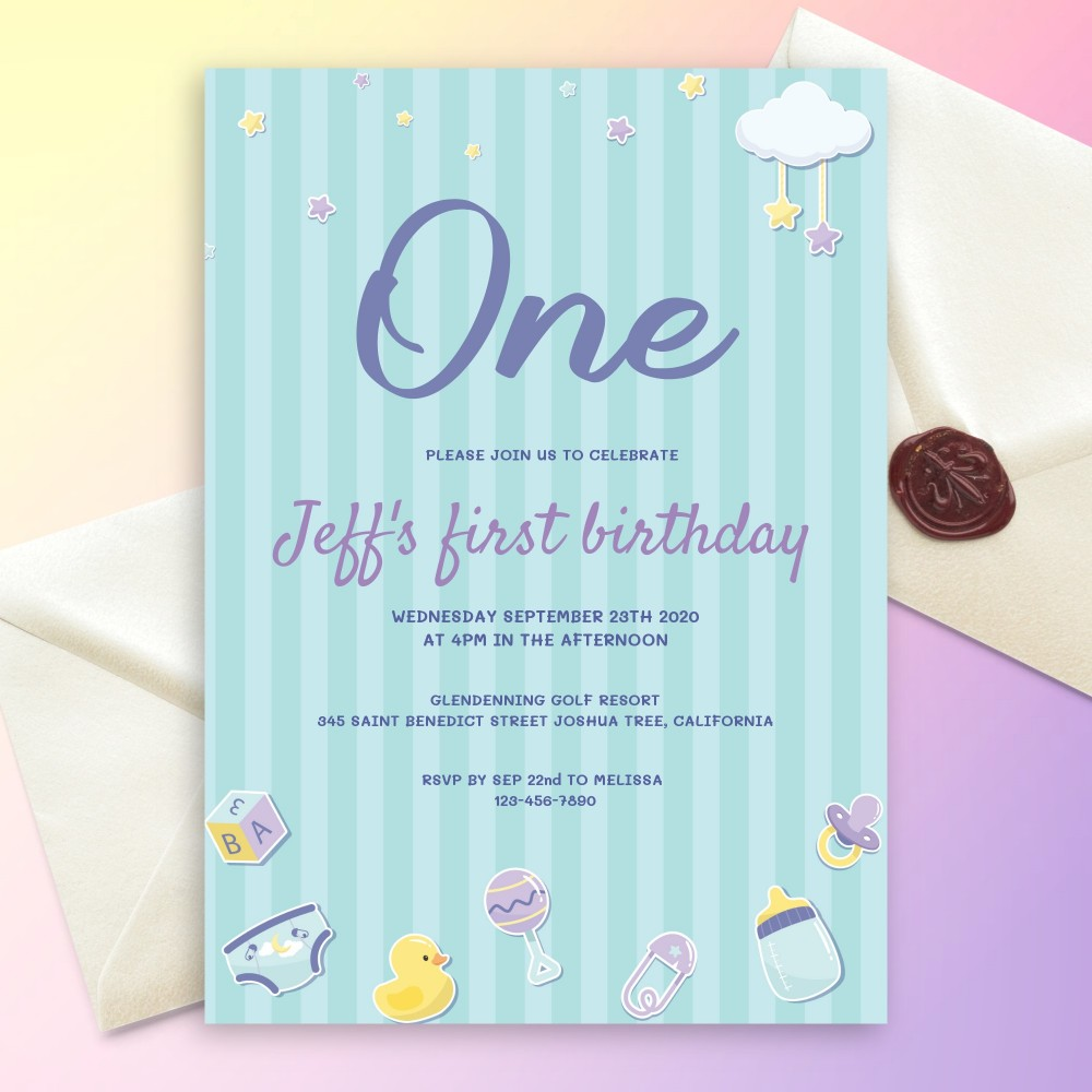 Customize and Download Newborn Stuff Blue Baby 1st Birthday Invitation