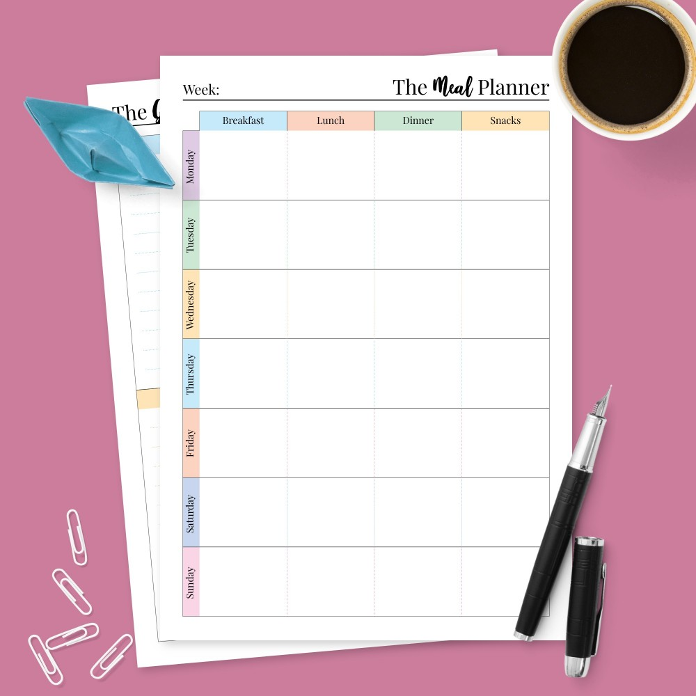 Download Printable One-Page Family Meal Planner Template
