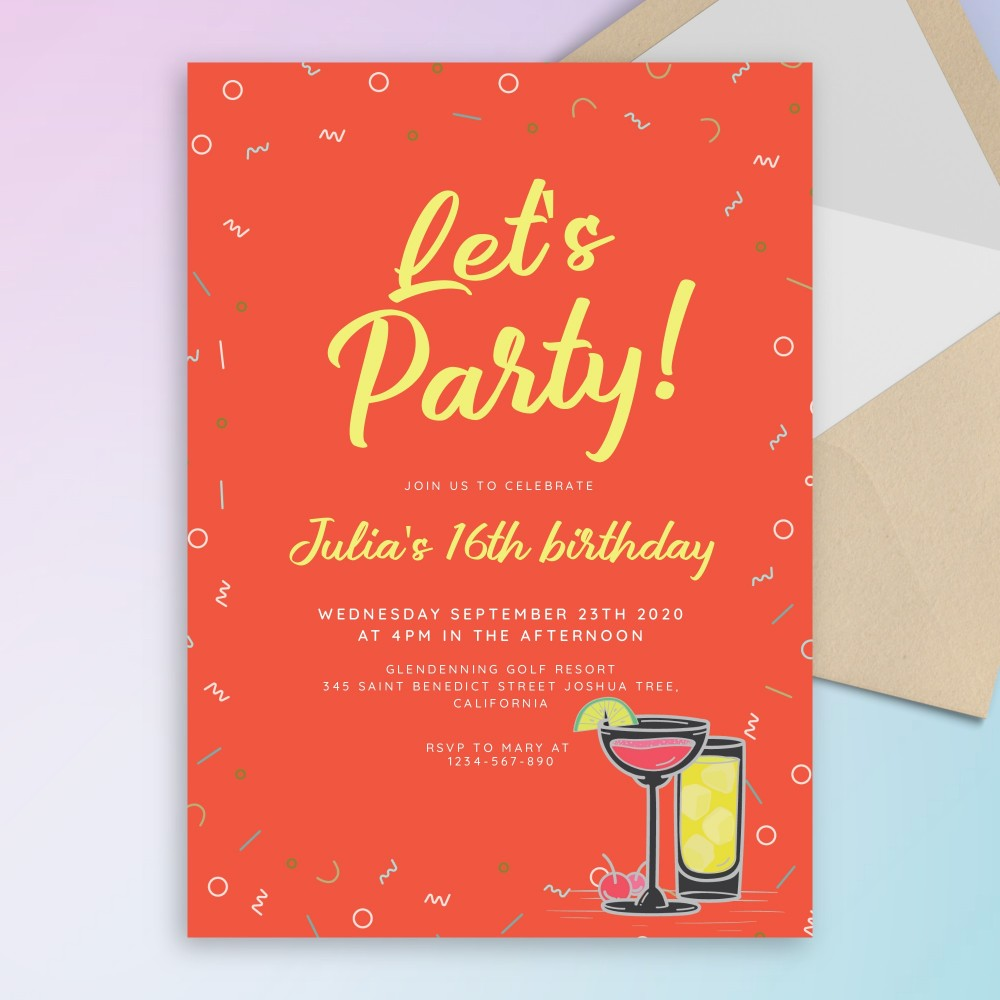 Customize and Download Orange Confetti Cocktail Party Invitation
