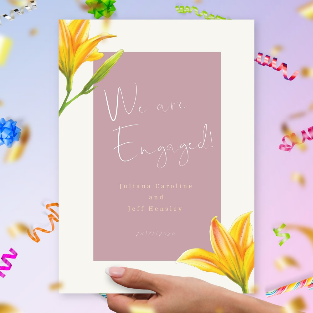 Customize and Download Orange Lily Engagement Announcement Card