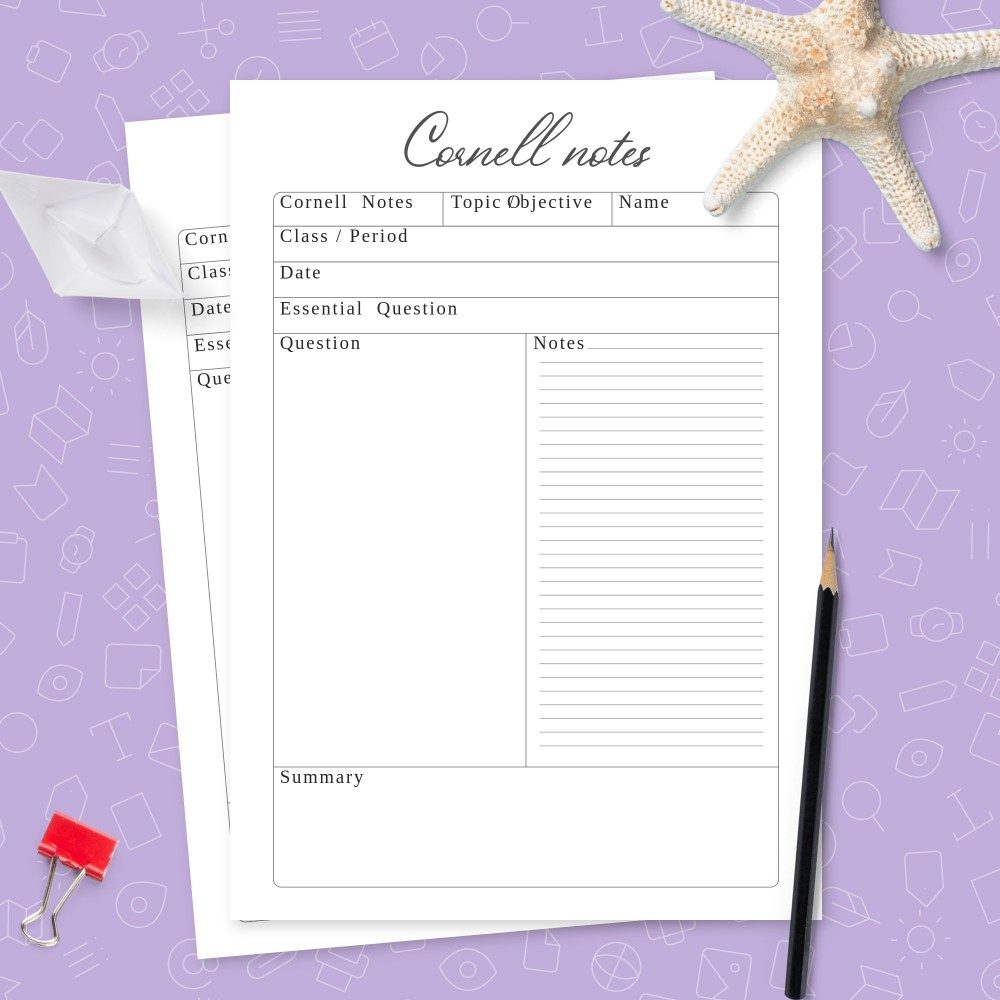 Download Printable Original Cornell Notes Template Template