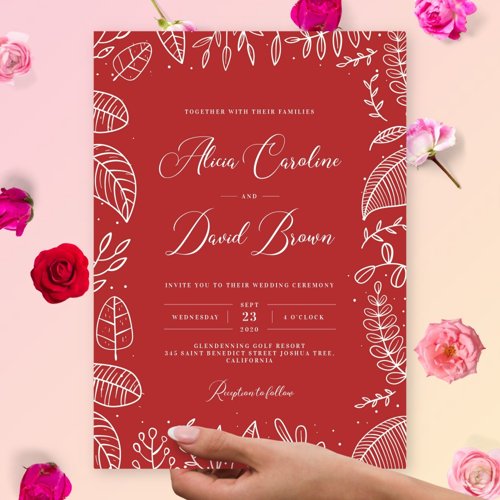 Customize and Download Outline Botanical Fall Wedding Invitation