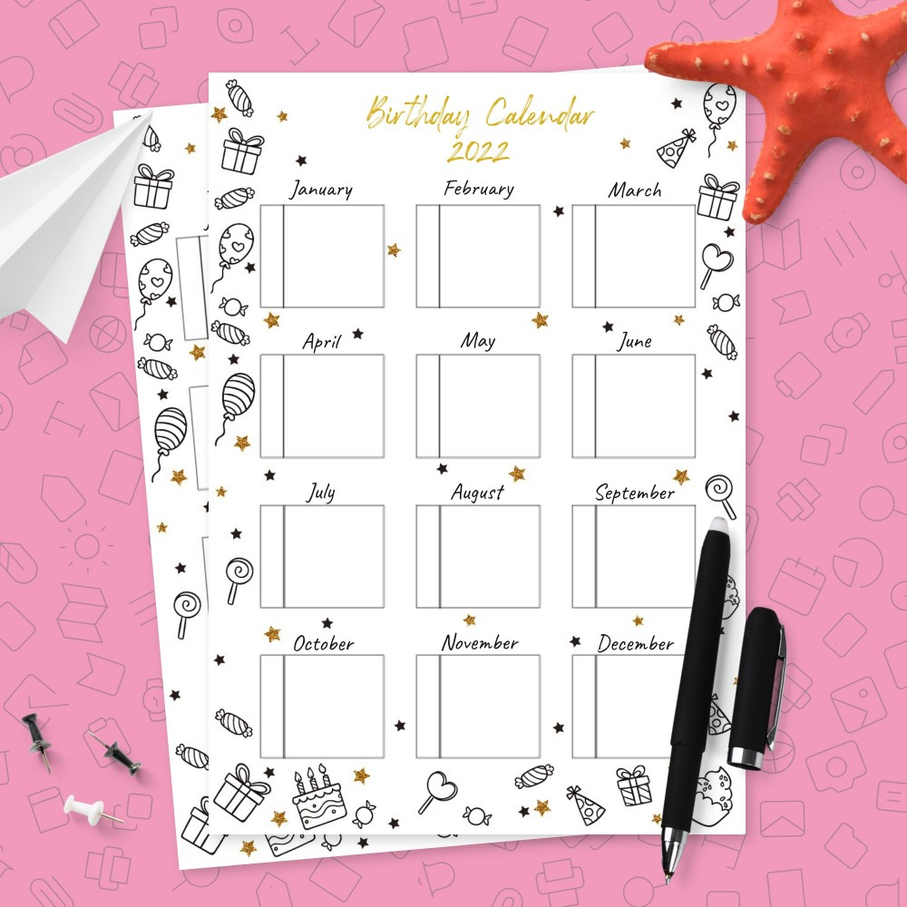 Download Printable Party Treats Birthday Calendar Template