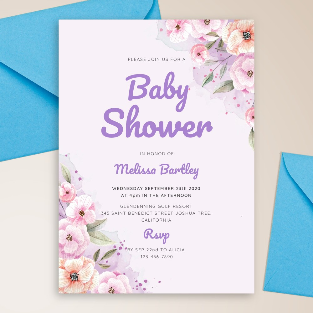 Customize and Download Peach Blossom Watercolor Baby Shower Invitation