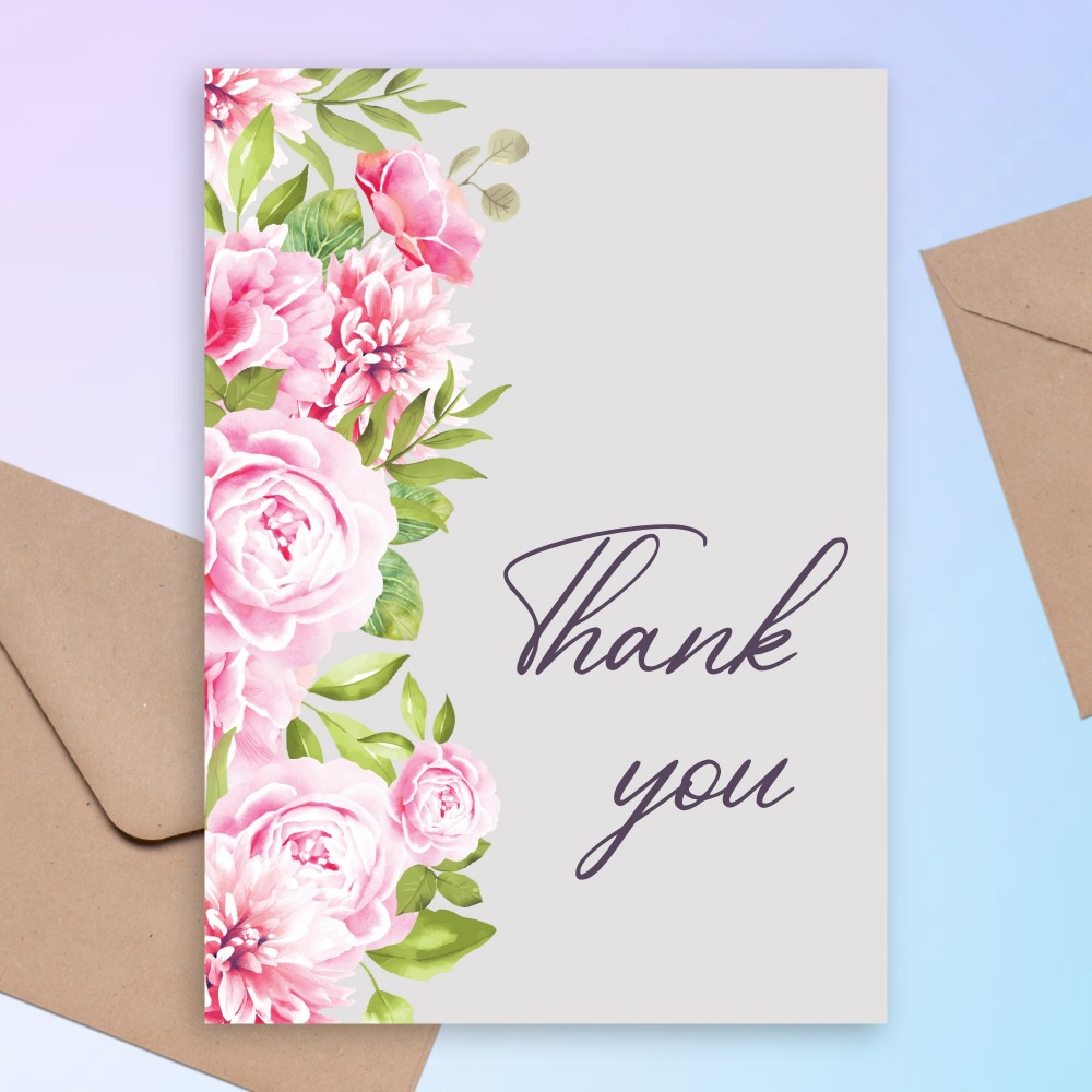 Customize and Download Peonies Bouquet Baby Shower Thank You Card