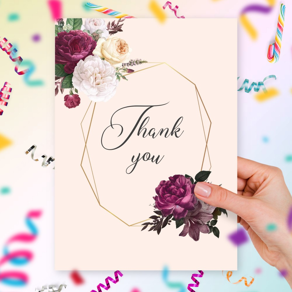 Customize and Download Peonies Bouquet Geometry Thank You Card