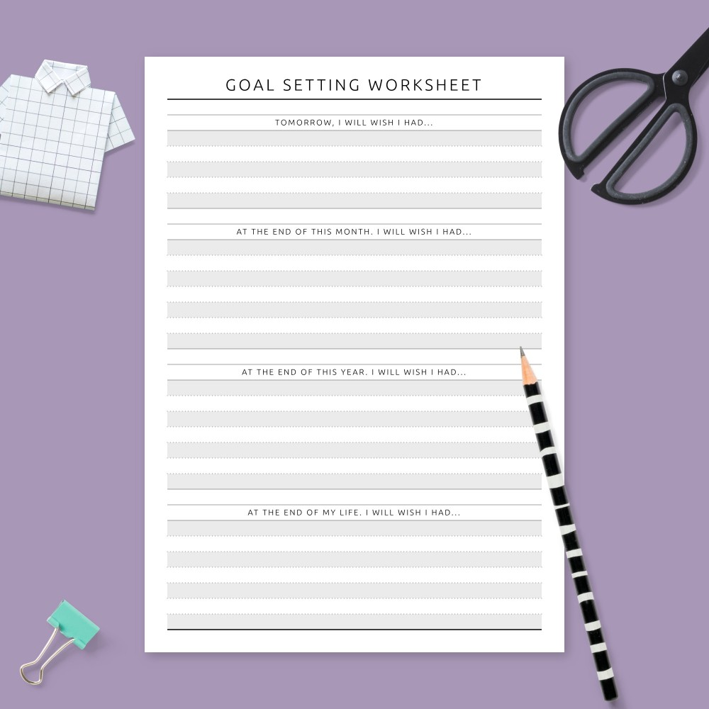 Download Printable Personal Goal Setting Page Template