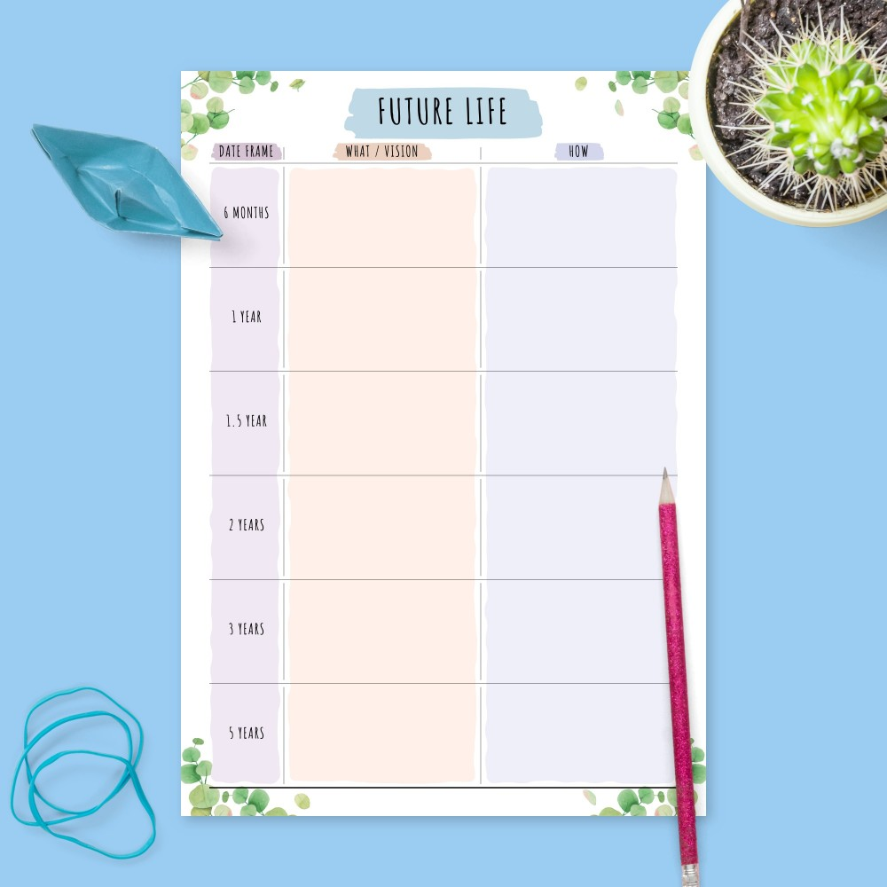 Download Printable Personal Life Goals Plan - Botanical Design Template
