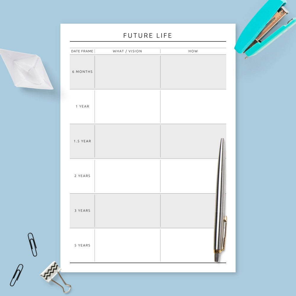 Download Printable Personal Life Goals Plan - Formal Design Template