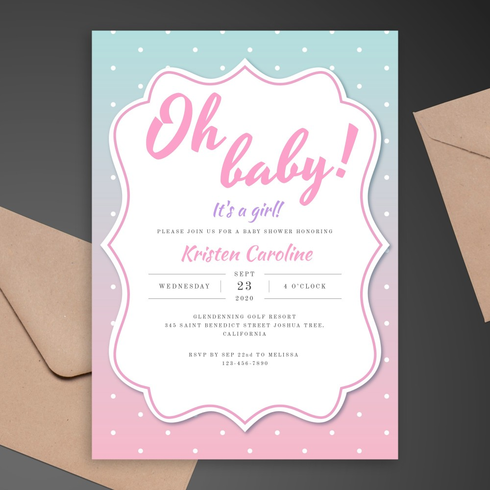 Customize and Download Pink and Blue Baby Shower Invitation