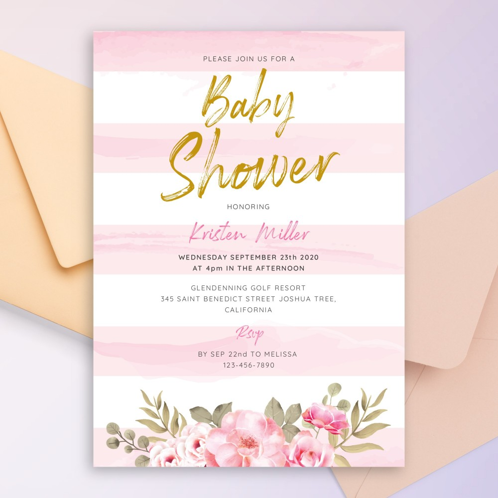 Customize and Download Pink and Gold Floral Baby Shower Invitation