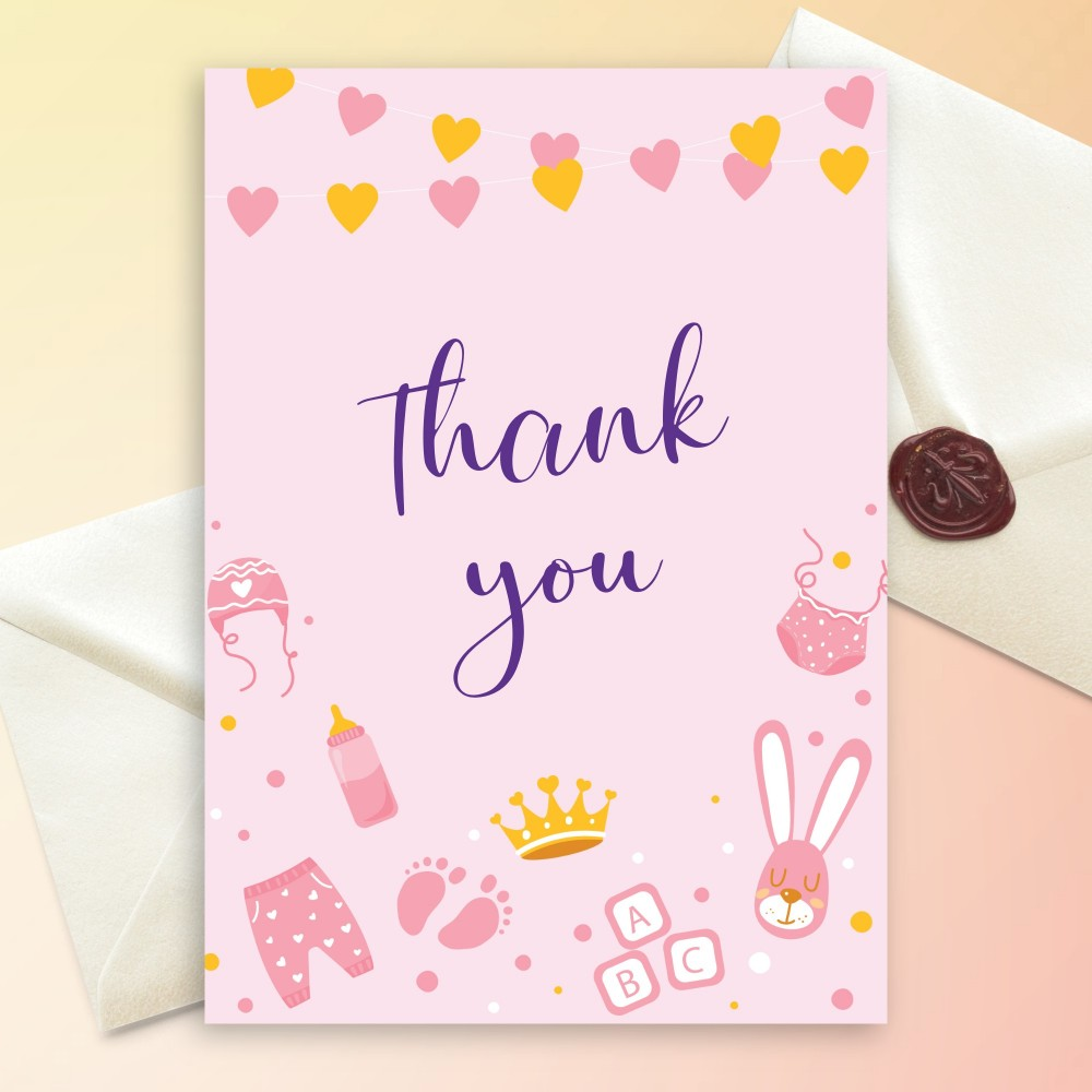 Customize and Download Pink and Gold Hearts Baby Shower Thank You Card