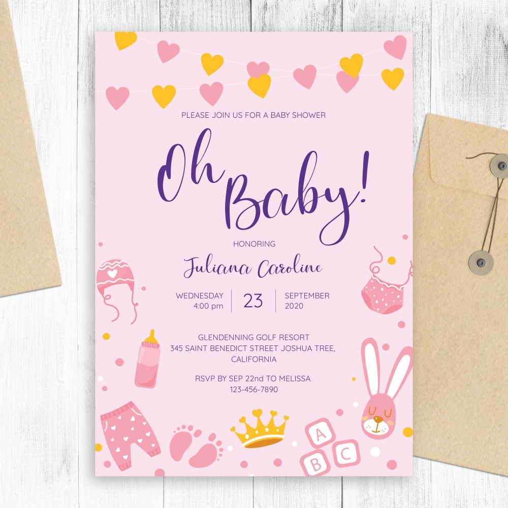 Customize and Download Pink and Gold Hearts Cute Baby Shower Invitation