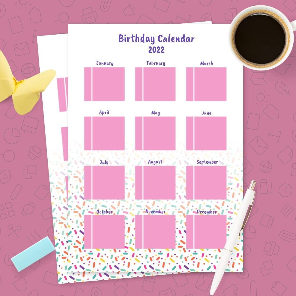Download Printable Pink and Violet Birthday Calendar Template