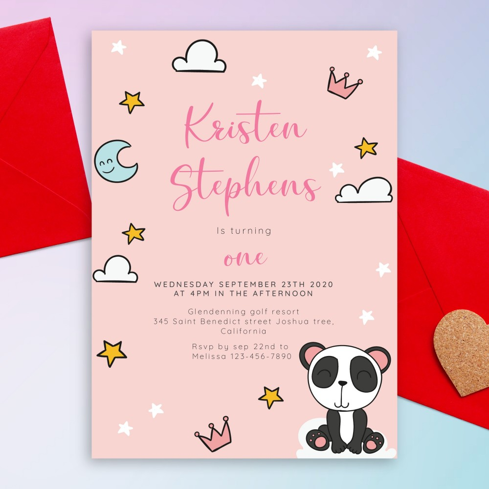 Customize and Download Pink Panda Baby 1st Birthday Invitation