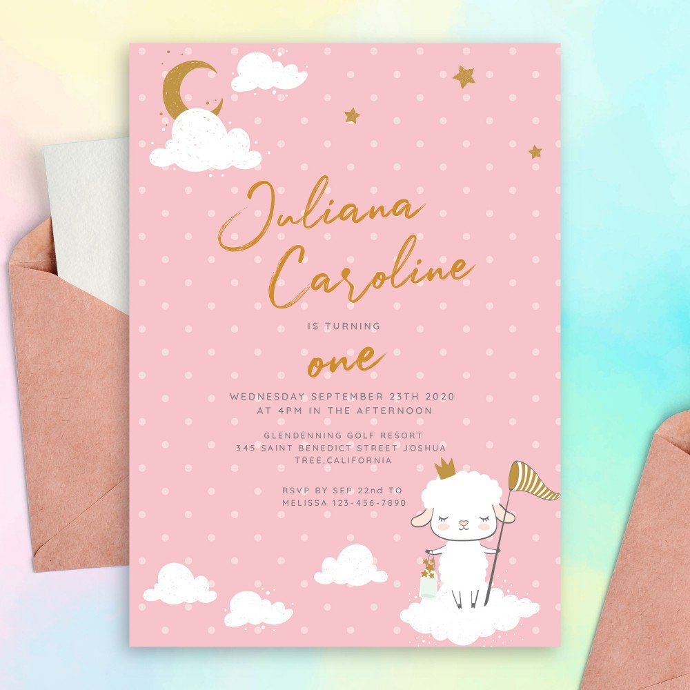 Customize and Download Pink Polka Dot Baby 1st Birthday Invitation