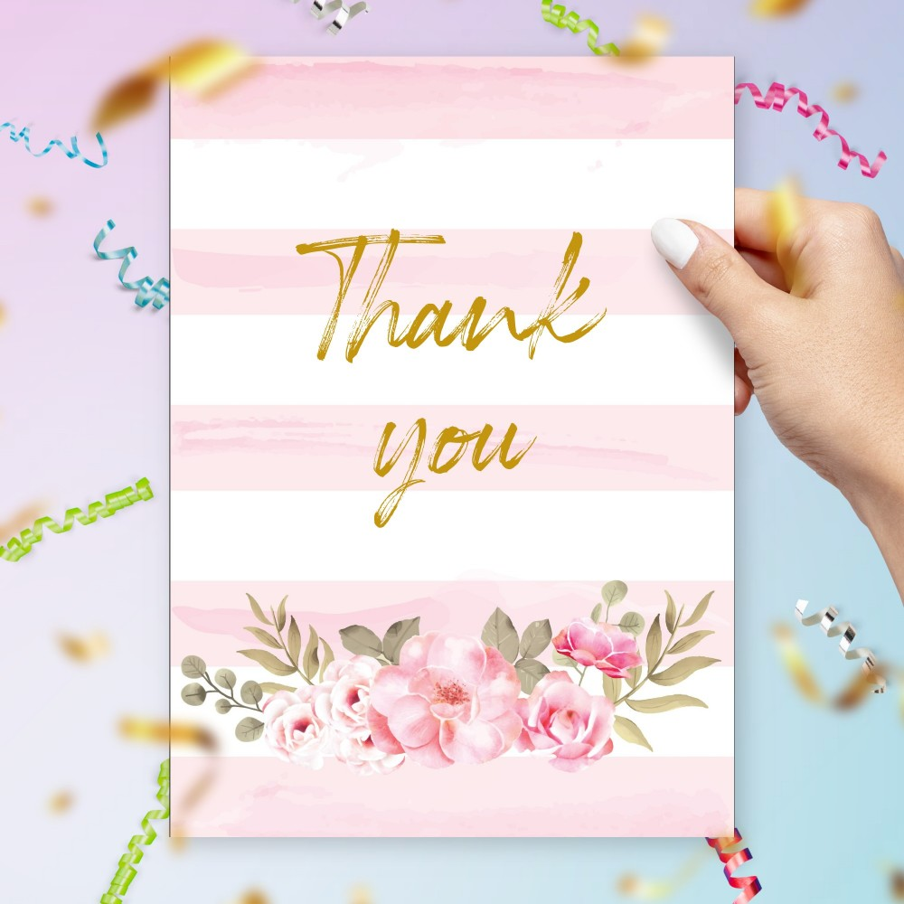 Customize and Download Pink Stripes and Roses Thank You Card