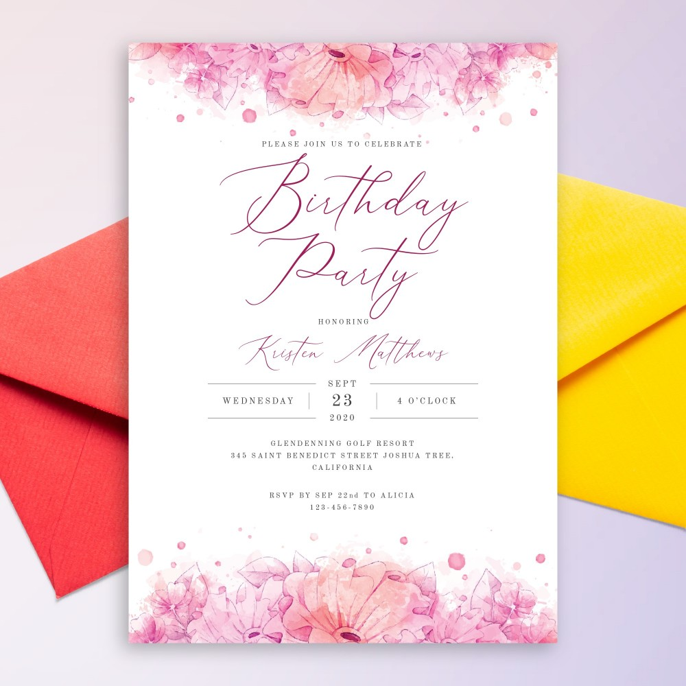 Customize and Download Pink Watercolor Floral Birthday Invitation