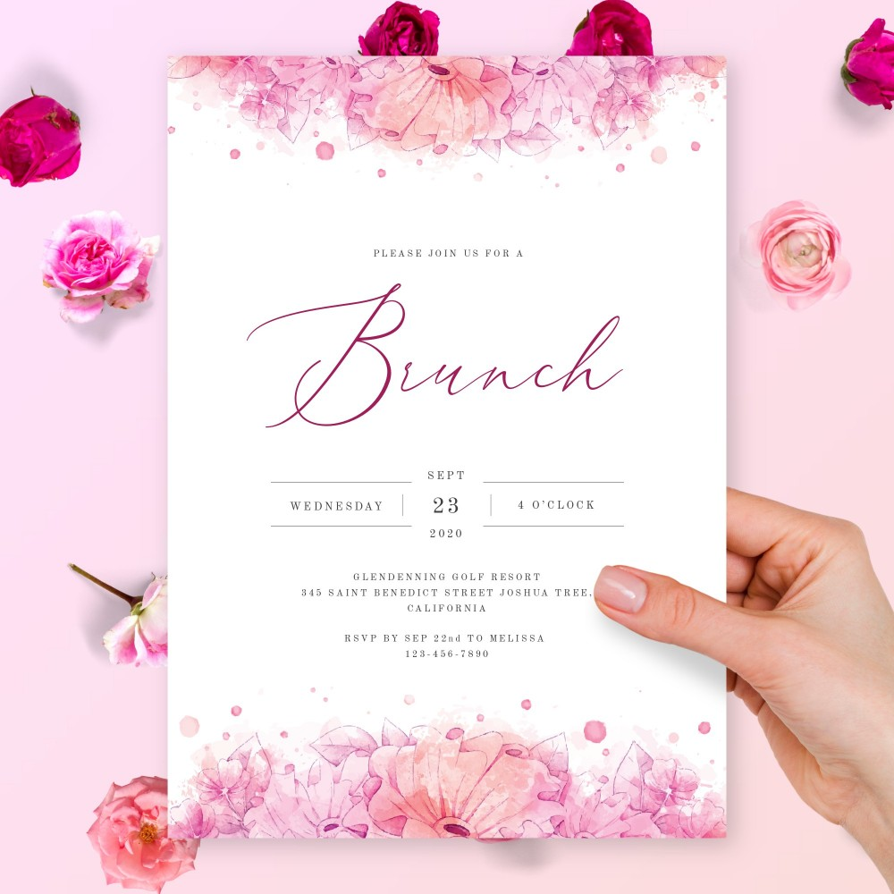 Customize and Download Pink Watercolor Floral Brunch Invitation