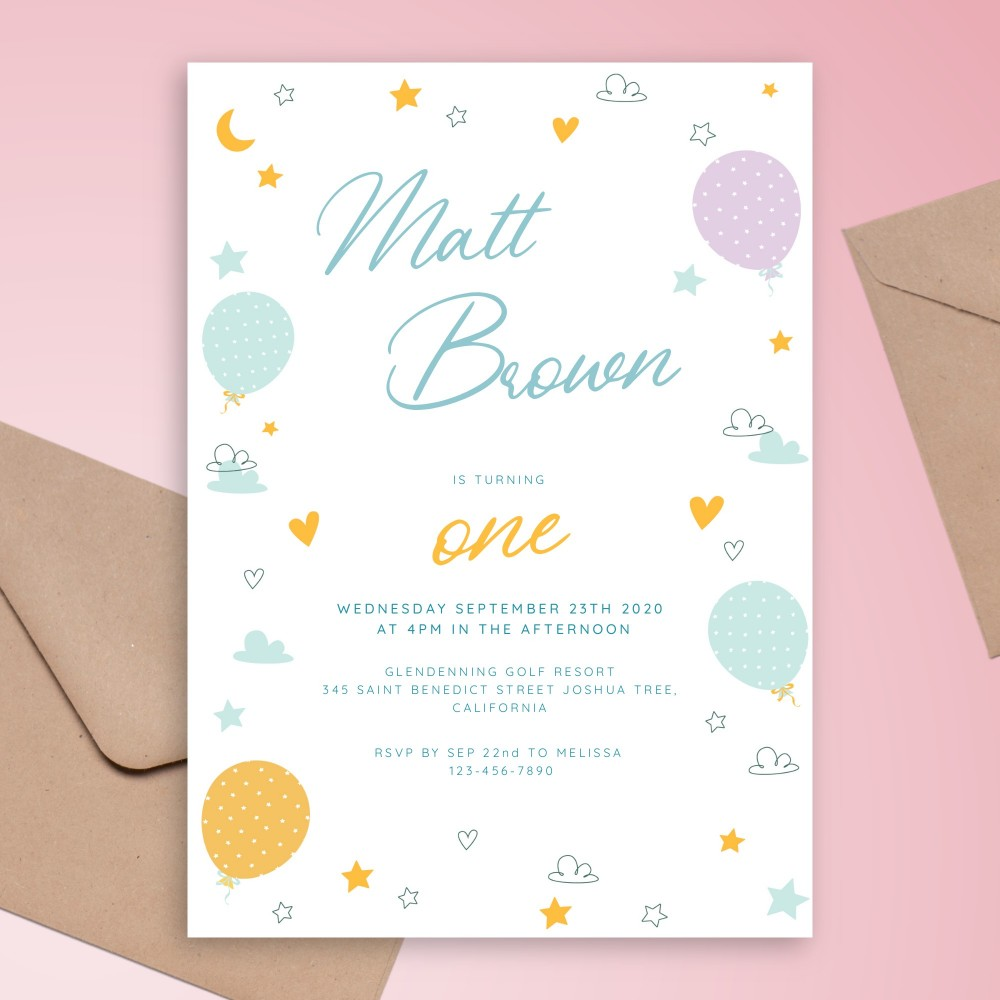 Customize and Download Polka Dot Balloons Baby 1st Birthday Invitation