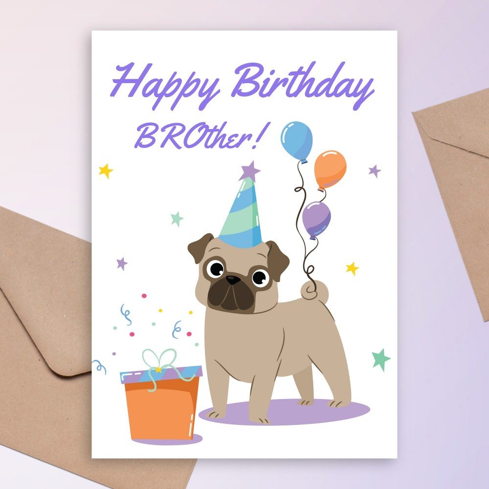 Customize and Download Puppy Birthday Card For Brother