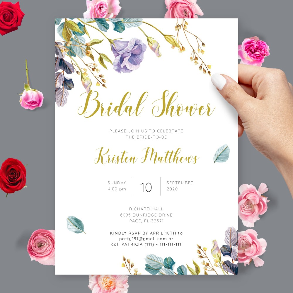 Customize and Download Purple and Gold Floral Bridal Shower Invitation