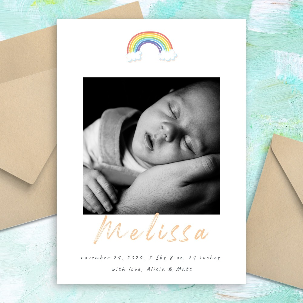 Customize and Download Rainbow Birth Announcement Card