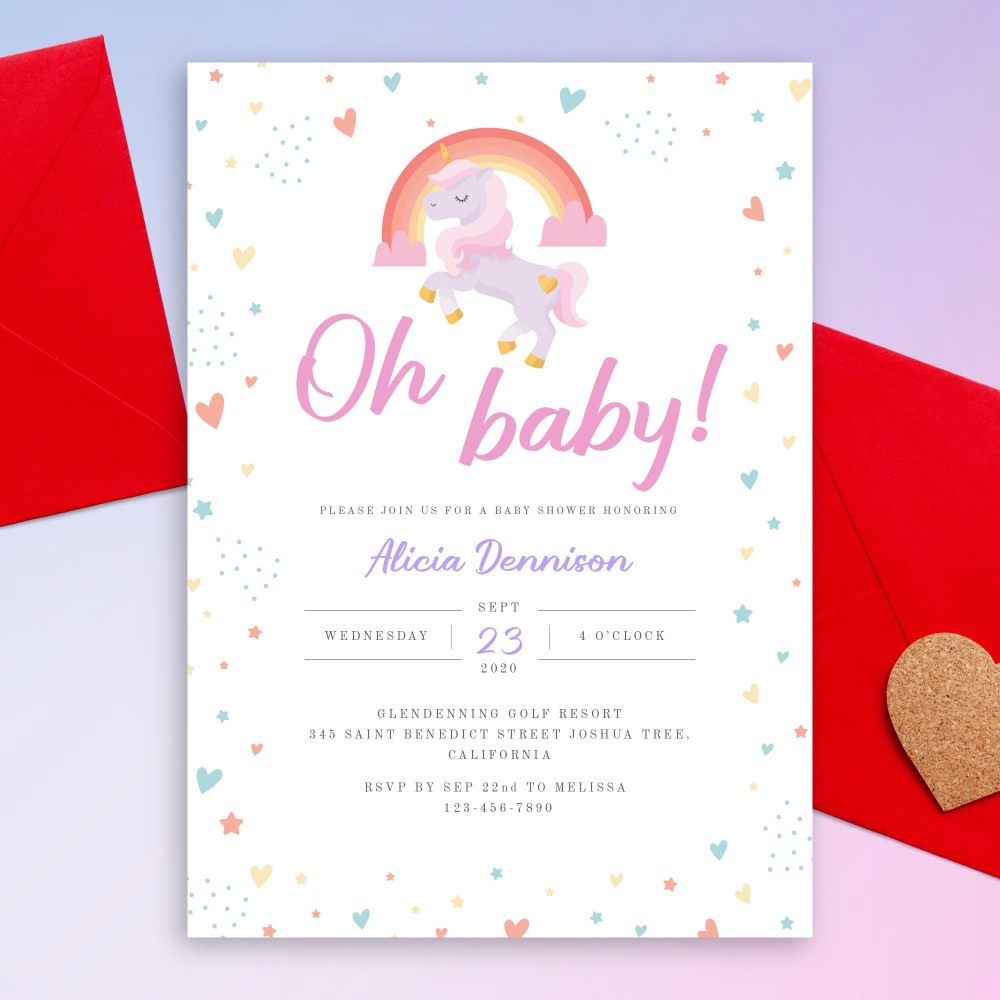 Customize and Download Rainbow Unicorn Baby Shower Invitation