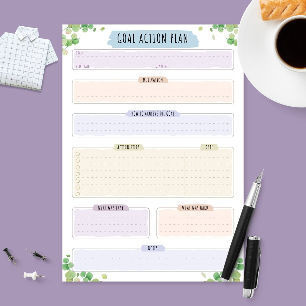 Download Printable Reaching Goal Planner - Botanical Design Template