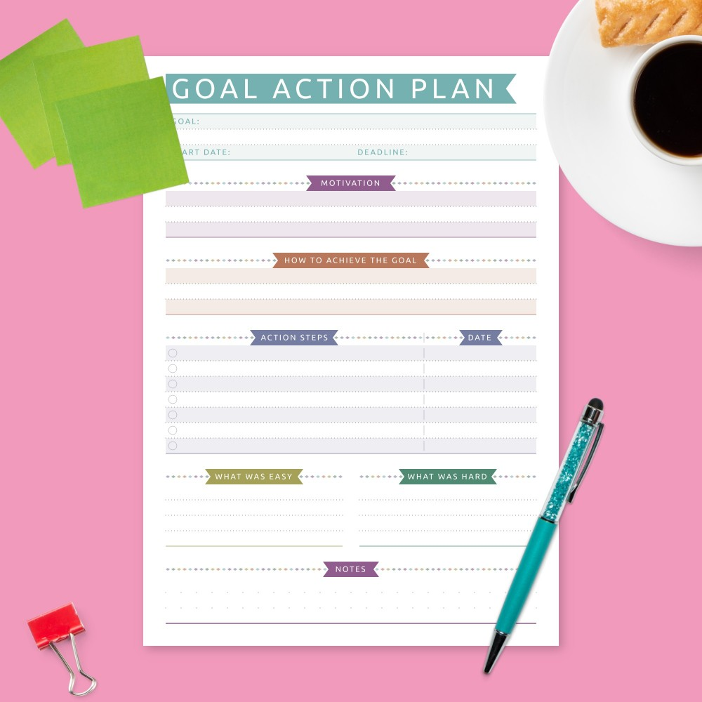 Download Printable Reaching Goal Planner - Colored Design Template