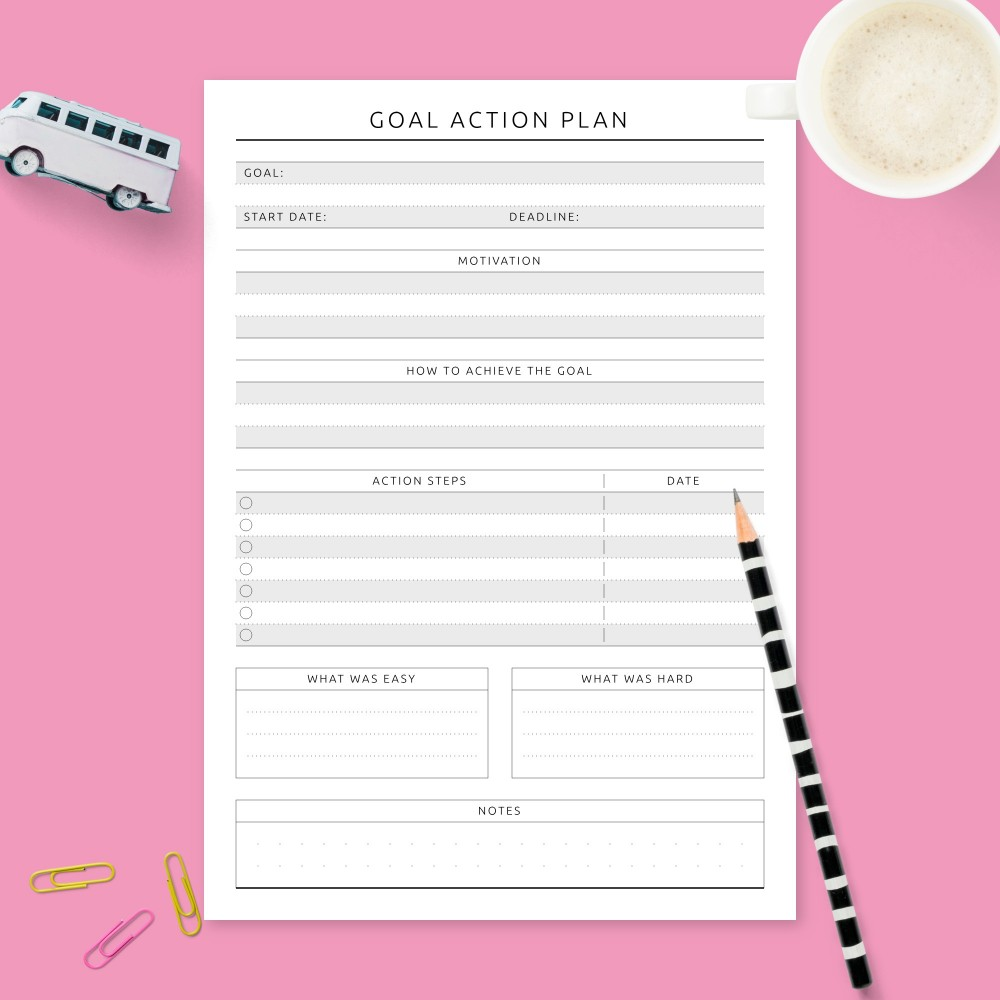 Download Printable Reaching Goal Planner - Formal Design Template